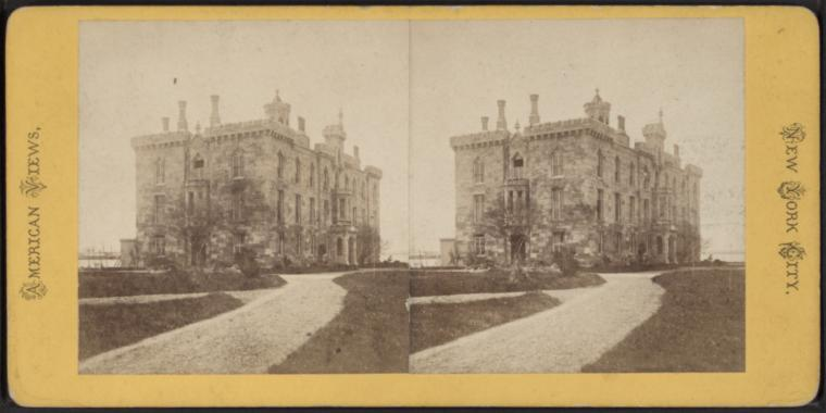 Stereoscope image of Renwick Smallpox Hospital
