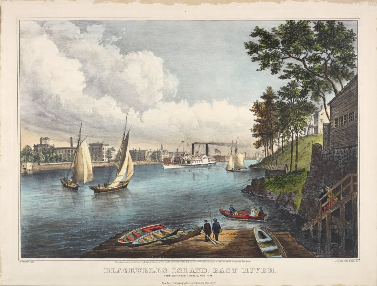 A color image of Blackwell's Island in the 19th Century, seen from 86th Street in Manhattan