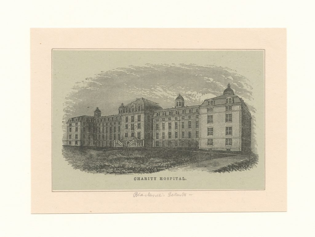 Engraving of Charity Hospital on Roosevelt Island