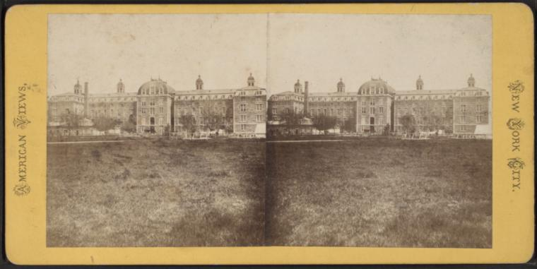 Stereoscopic view of Charity Hospital at Blackwell's Island