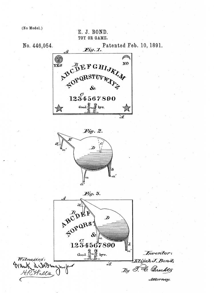 Elijah Bond's Patent for the Kennard Ouija Board
